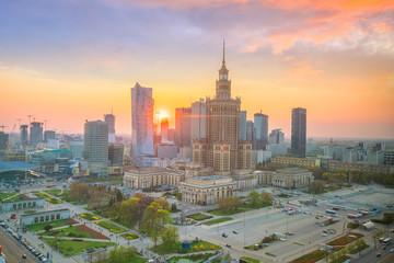 Aerial photo of  Warsaw city skyline