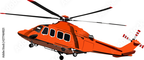 Air force. Combat helicopter. Vector illustration Canvas Print