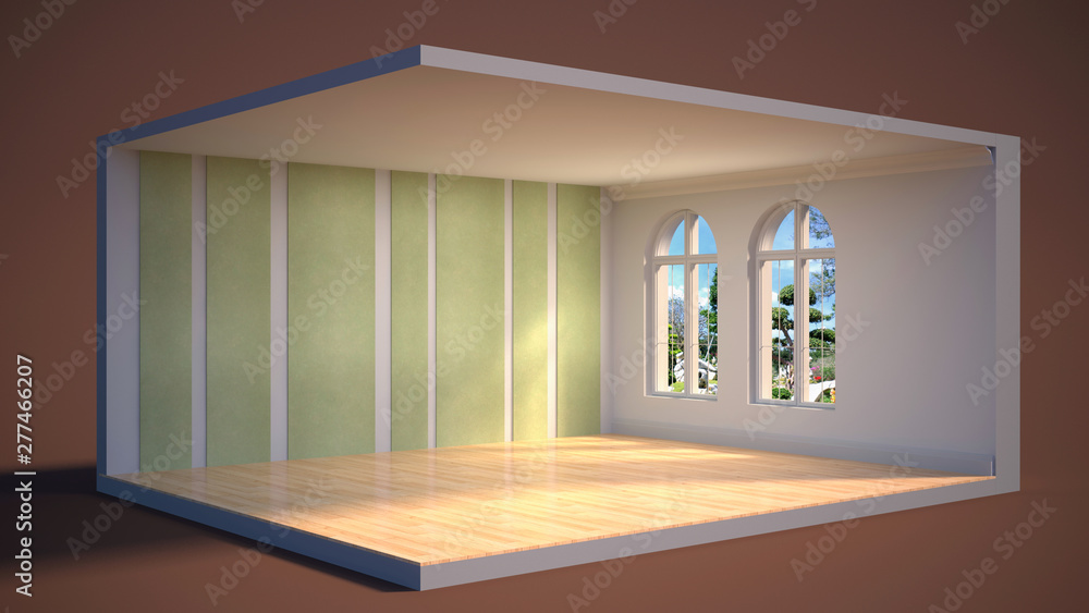 Fototapety, obrazy: interior with large window. 3d illustration
