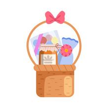 Present Basket Full Of Gifts, Birthday, Xmas, Wedding, Anniversary Celebration Design Element Vector Illustration