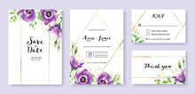 Wedding Invitation Card, Save The Date, Thank You, Rsvp Template. Vector. Purple Lisianthus Flower. Watercolor Style.