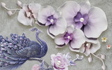 3d illustration, gray textural background, large light purple flowers with pearls, large blue peacock