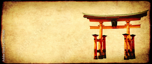 Grunge background with paper texture and Torii gate