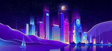 Future Metropolis Business District, Resort City Downtown Cartoon Vector. Illuminating Neon Lights, Modern Skyscrapers Buildings On Seacoast, Sailing Yacht Floating In Bay At Starry Night Illustration