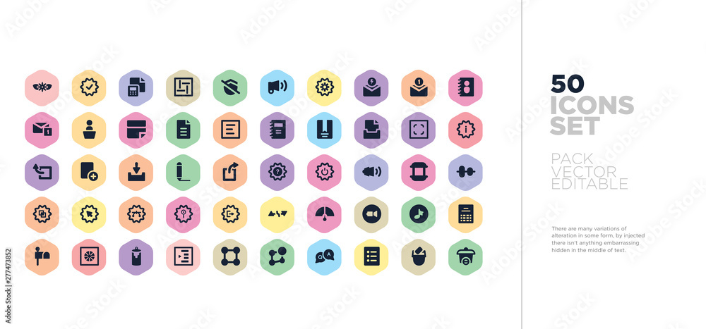 Fototapety, obrazy: 50 ui vector icons set in a colorful hexagon buttons