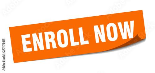 Cuadros en Lienzo enroll now sticker. enroll now square isolated sign. enroll now