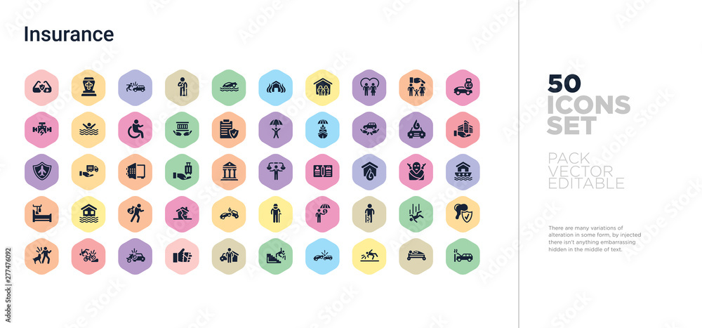 Fototapety, obrazy: 50 insurance vector icons set in a colorful hexagon buttons