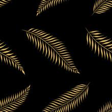 Gold Palm Leaves Seamless Patt...
