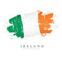 Flag Of Ireland. Vector Illustration. Brush Strokes