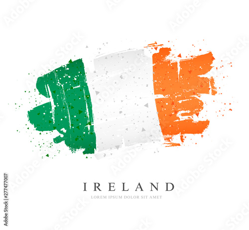 Canvas Print Flag of Ireland. Vector illustration. Brush strokes