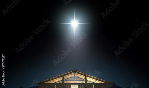 Christ's Birth In A Stable Canvas Print
