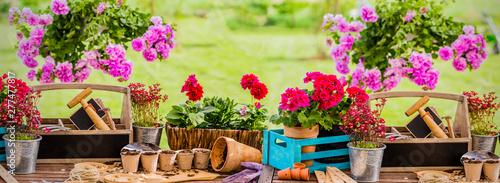 Garden tools terrace background, gardener equipment on wooden deck. #277477817