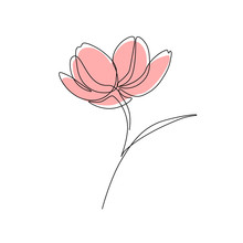 Abstract Flower In One Line Ar...