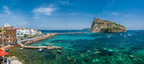 Landscape with Porto Ischia and Aragonese Castle, Ischia island, Italy