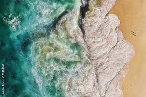 Canvas Prints Rio de Janeiro Top Aerial View of Turquoise Ocean Waves Breaking on the Shore of Pristine Tropical Sand Beach, People in Paradise, Summer Holiday and Nature Background