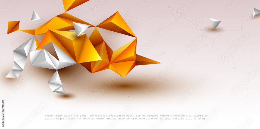 Fototapeta Abstract 3D Geometric, Polygon, Yellow-orange gradient color triangle pattern shape on white color background. Vector illustration polygonal technology background for banner, template, web design