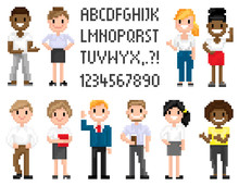 Man And Woman Pixel Characters, Full Length And Portrait View Of Smiling Superhero, People Waving, Shooting And Holding, Pixel Alphabet Numbers And Text Decoration Pixelated Business Or Education Game