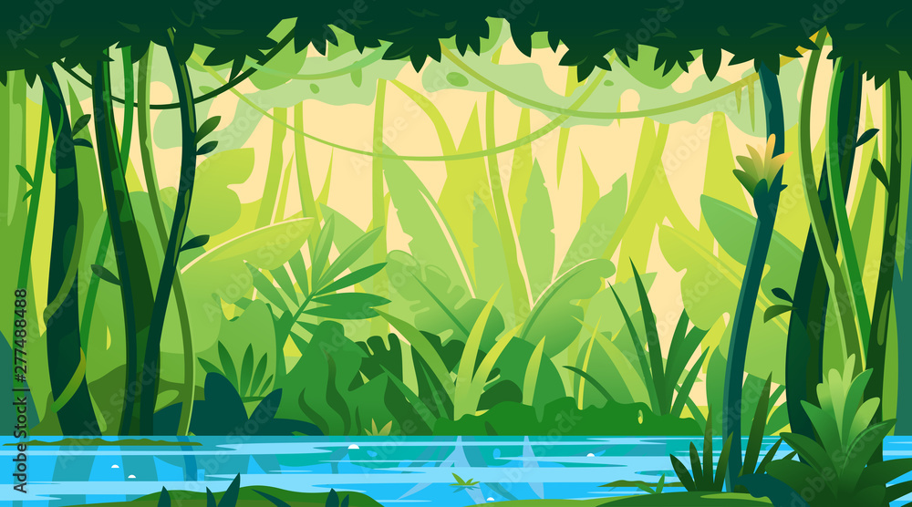 Fototapeta River flows through the jungle around different plants and trees with lianas, wildlife of tropical forest flooded with water, illustration of equatorial jungle, rainforest background