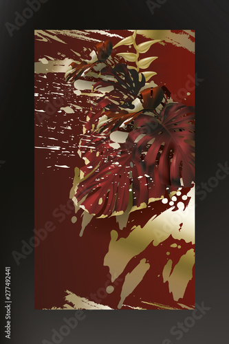 Tropical Gold Maroon Monstera Leaf On Dark Red Background