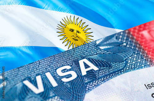 Argentina Visa Document, with Argentina flag in background