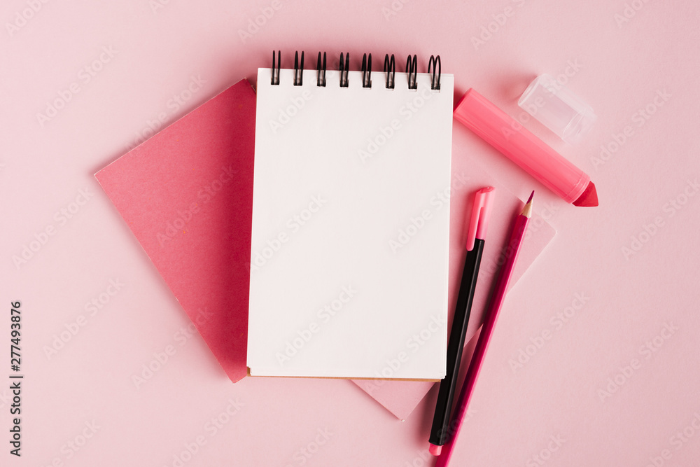 Fototapety, obrazy: Pink composition with notepad and office supplies on colored surface