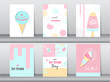 Collection of ice cream invitation card,Happy national ice cream day,poster, greeting, template,cone,sundea,scoop,Vector illustrations