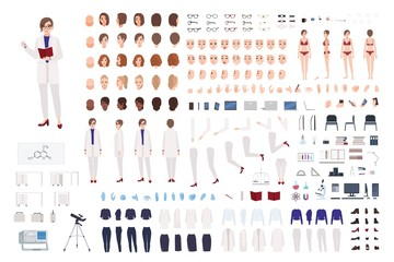 Woman scientist or scientific laboratory worker constructor set or DIY kit. Bundle of female body parts, lab clothing and equipment isolated on white background. Flat cartoon vector illustration.