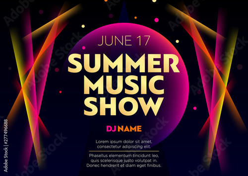 Fotografia Horizontal summer music show poster with bright color graphic elements, dark background and text