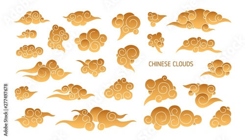 Obraz na plátne  Collection of golden clouds in traditional Chinese style isolated on white background