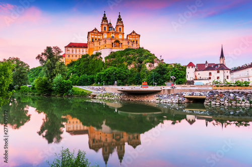 Melk, Austria. Benedictine abbey in Wachau valley at sunset. Canvas Print