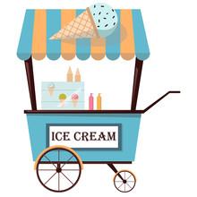 Ice Cream Cart Isolated On Whi...