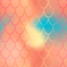 Mermaid Or Fish Scale Seamless Pattern. Orange Mermaid Skin Vector Background. Marine Pattern Tile. Holographic Gradient