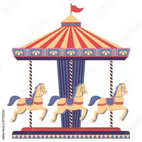 Obraz na plátně  Carousel with horses in amusement park