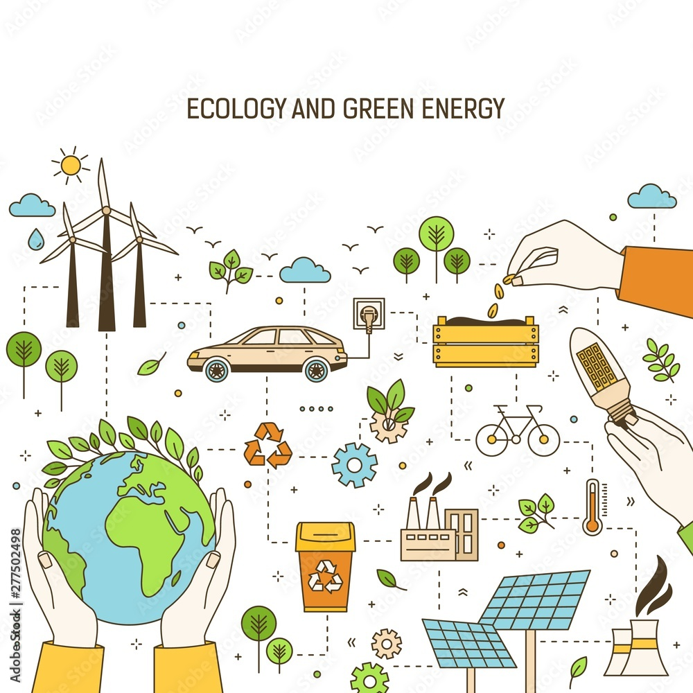 Fototapety, obrazy: Square banner template with hands holding planet, lightbulb and seeds surrounded by wind and solar power plants, electric car. Green energy, electricity generation. Modern linear vector illustration.