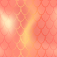 Mermaid Or Fish Scale Seamless Pattern. Red Yellow Mermaid Skin Vector Background. Marine Pattern Tile. Holographic Gradient