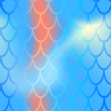 Mermaid Or Fish Scale Seamless Pattern. Blue Red Mermaid Skin Vector Background. Marine Pattern Tile. Holographic Gradient