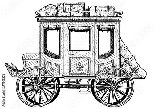 Stagecoach illustration, drawing, engraving, ink, line art, vector Tablou Canvas