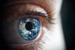 Leinwandbild Motiv Macro photo of the woman's eye and Earth planet