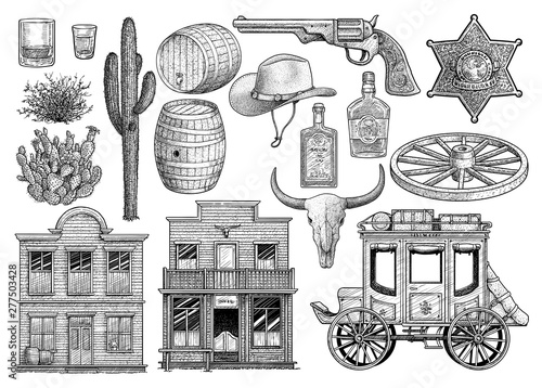 Western object collection, illustration, drawing, engraving, ink, line art, vect Fototapet