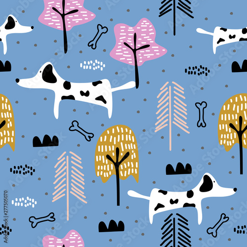 fototapeta na drzwi i meble Cute dog seamless pattern drawing animal illustration. Trendy scandinavian art cartoon background.
