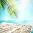 Desk of free space for your decoration and summer beach landscape