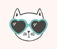 Adorable Face Or Head Of Cat Wearing Heart-shaped Sunglasses Isolated On White Background. Portrait Of Stylish Kitten. Flat Cartoon Vector Illustration In Flat Style For Children Sweatshirt Print.