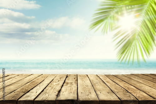 Poster Palmier Desk of free space for your decoration and summer beach landscape