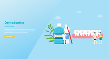 Orthodontics Dentist Concept With Team Doctor And Nurse People Teeth With Modern Flat Style For Website Template Or Landing Homepage - Vector