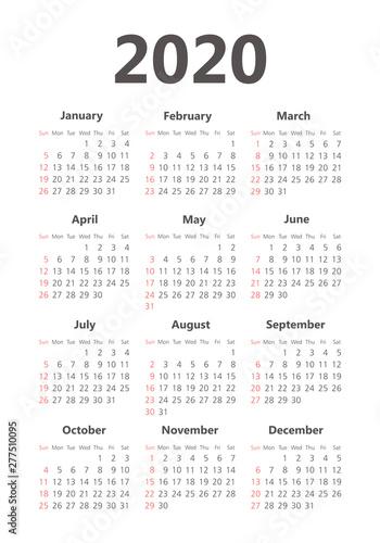 Vector calendar 2020 year. Week starts from Sunday Fototapete