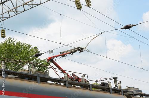 Fényképezés Power train. High voltage. Railway power line.