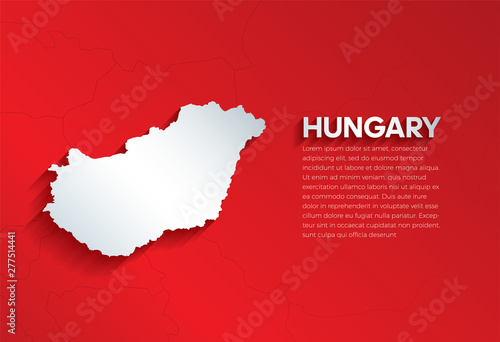 Hungary Map with shadow Fototapet