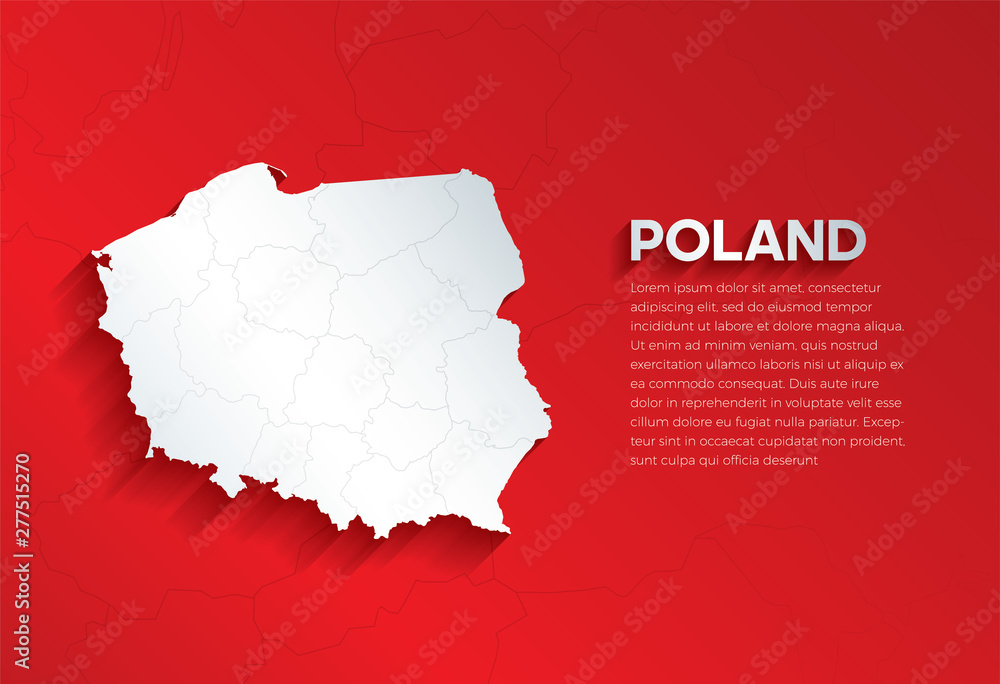 Fototapety, obrazy: Poland Map with shadow. Cut paper isolated on a red background. Vector illustration.