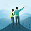 A man and a woman on top of a mountain look into the distance. Rear view from the back. Vector illustration.