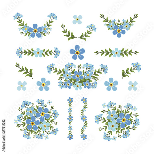 Photo sur Toile Papillons dans Grunge Isolated blue flower elements with branch and leaves. Vector wreath bouquet and decorative object. Set of blooming floral material for graphic design.